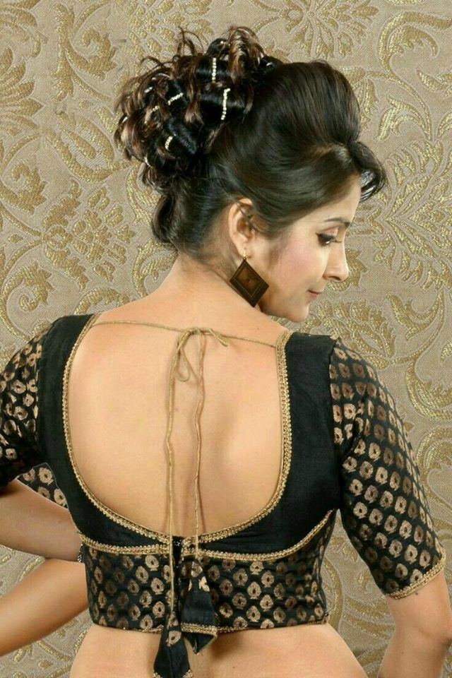Black embroidered blouse design