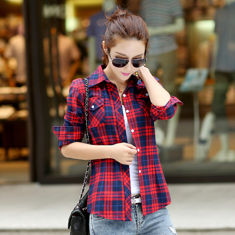 4ea47143 Girl-College-Style-long-sleeve-Cotton-checkered-shirts-Blouse-British-Womens -Casual-plaid-shirt-clothes-for - K4 Fashion