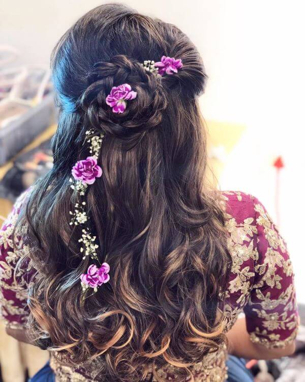 Wavy hair with braided bun