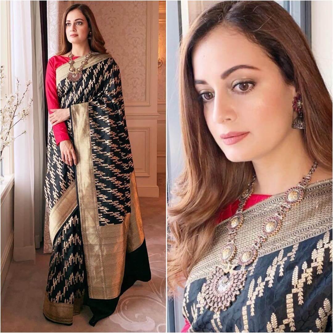 Diya Mirza in black and gold silk saree Silk Saree Designs Inspired from Bollywood Divas