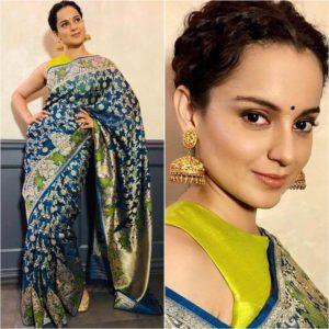 Kangana Ranaut in blue and green silk saree Silk Saree Designs Inspired from Bollywood Divas