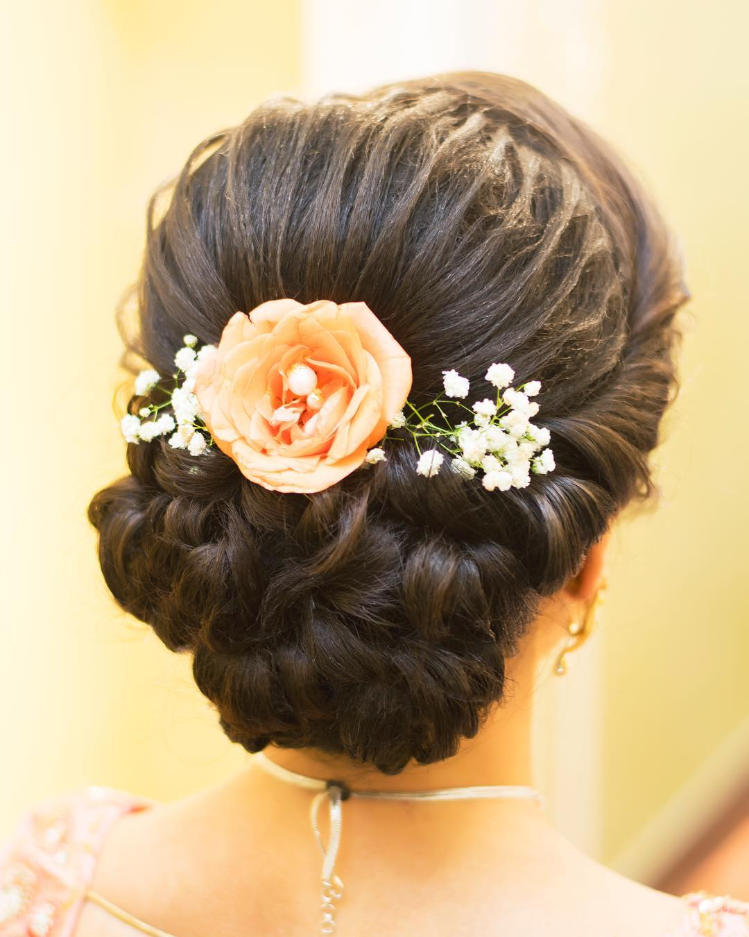 Floral Bun Hairstyles for Brides 9