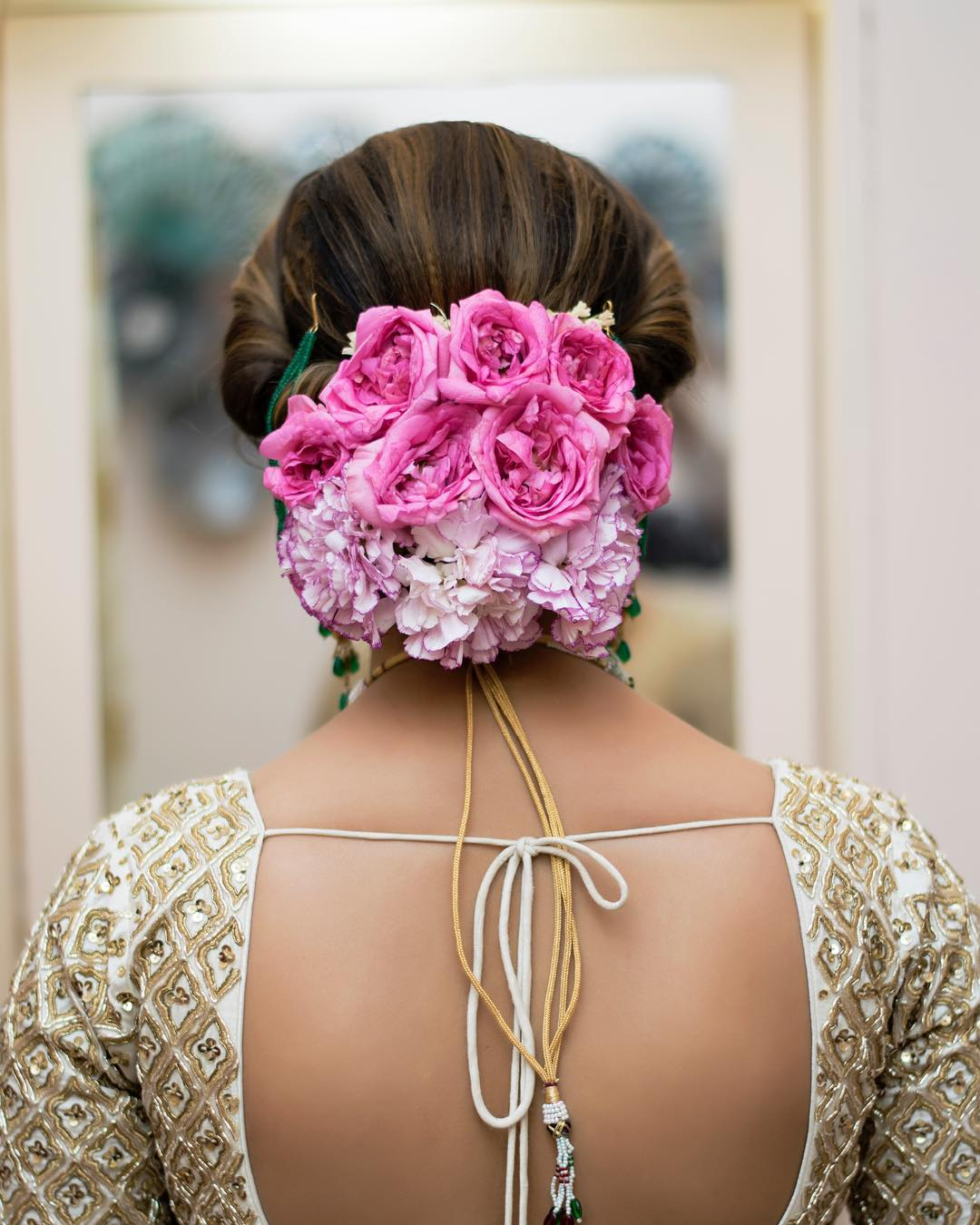Floral Bun Hairstyles for Brides 11